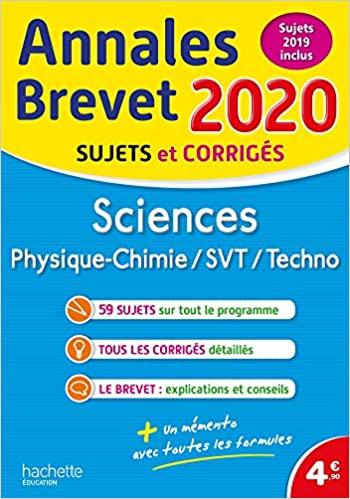 Sciences : Physique-Chimie, SVT, Technologie - Sujets et corrigés