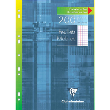 Feuillets mobiles s/étui 21×29,7 200p Q.5×5 + marge